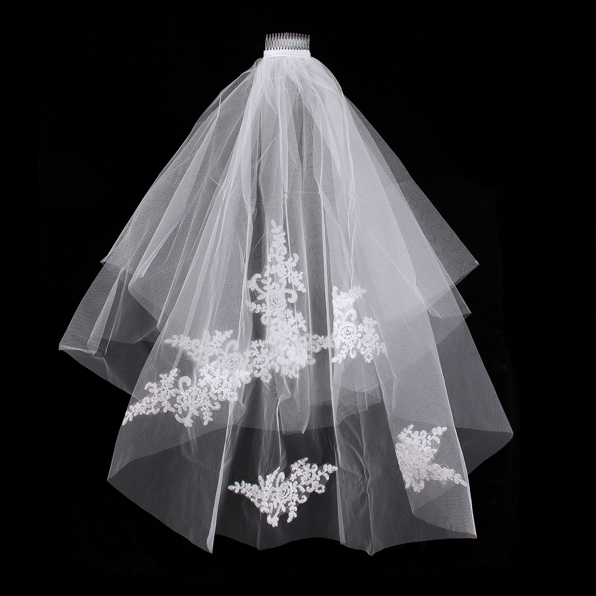 2 Layers Bride White Ivory Flower Embroidery Bridal Veil With Comb