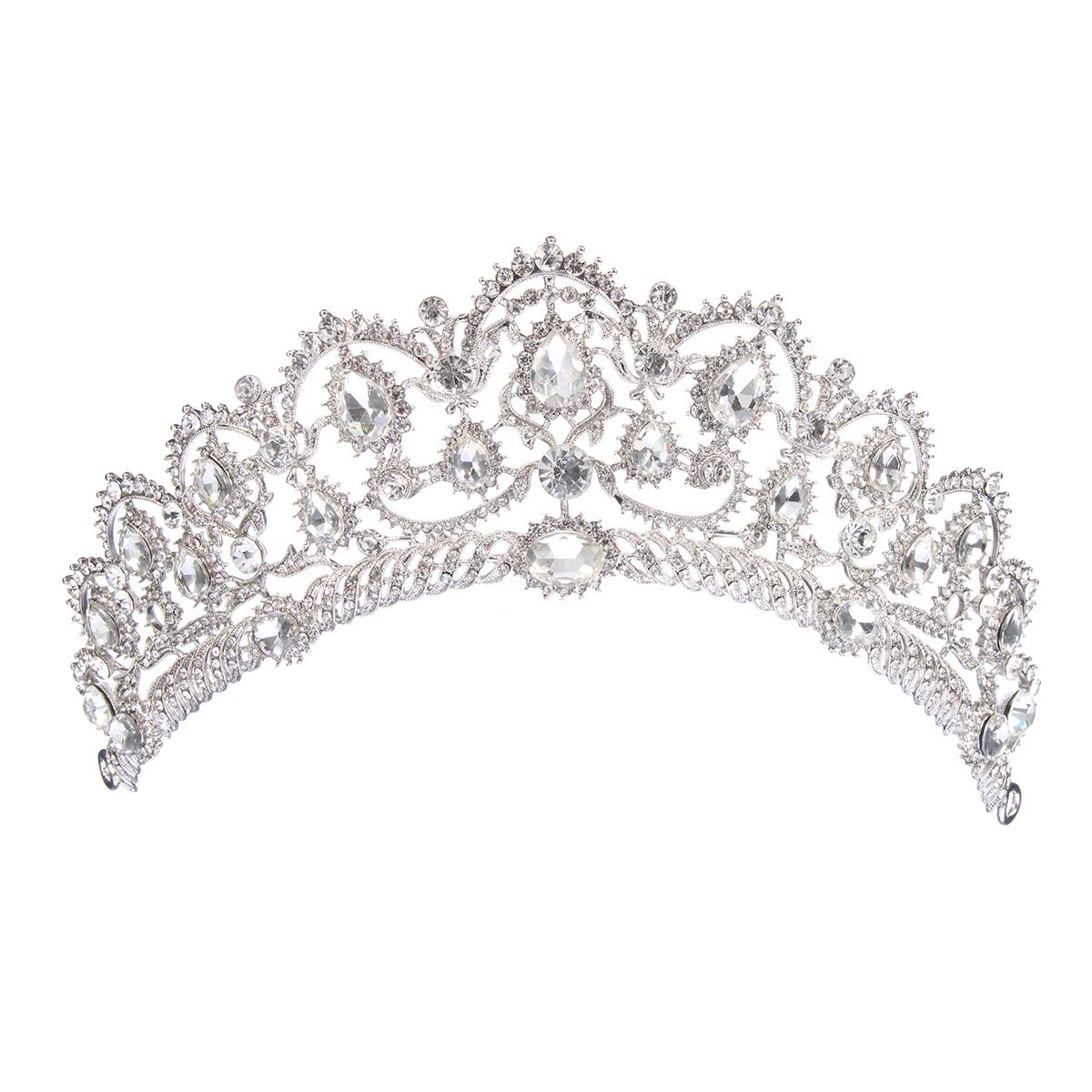 Bride Rhinestone Crystal Princess Queen Crown Tiara Head Jewelry Headpiece Wedding Party Headbrand
