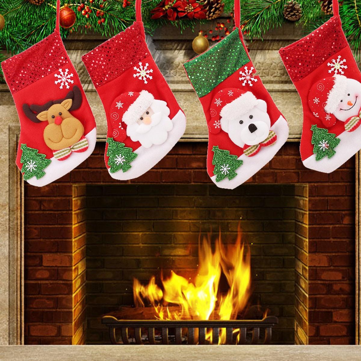 Christmas Gift Socks Bags Santa Claus Snowman Pattern Fleece Hanging Stockings For Tree Decoration