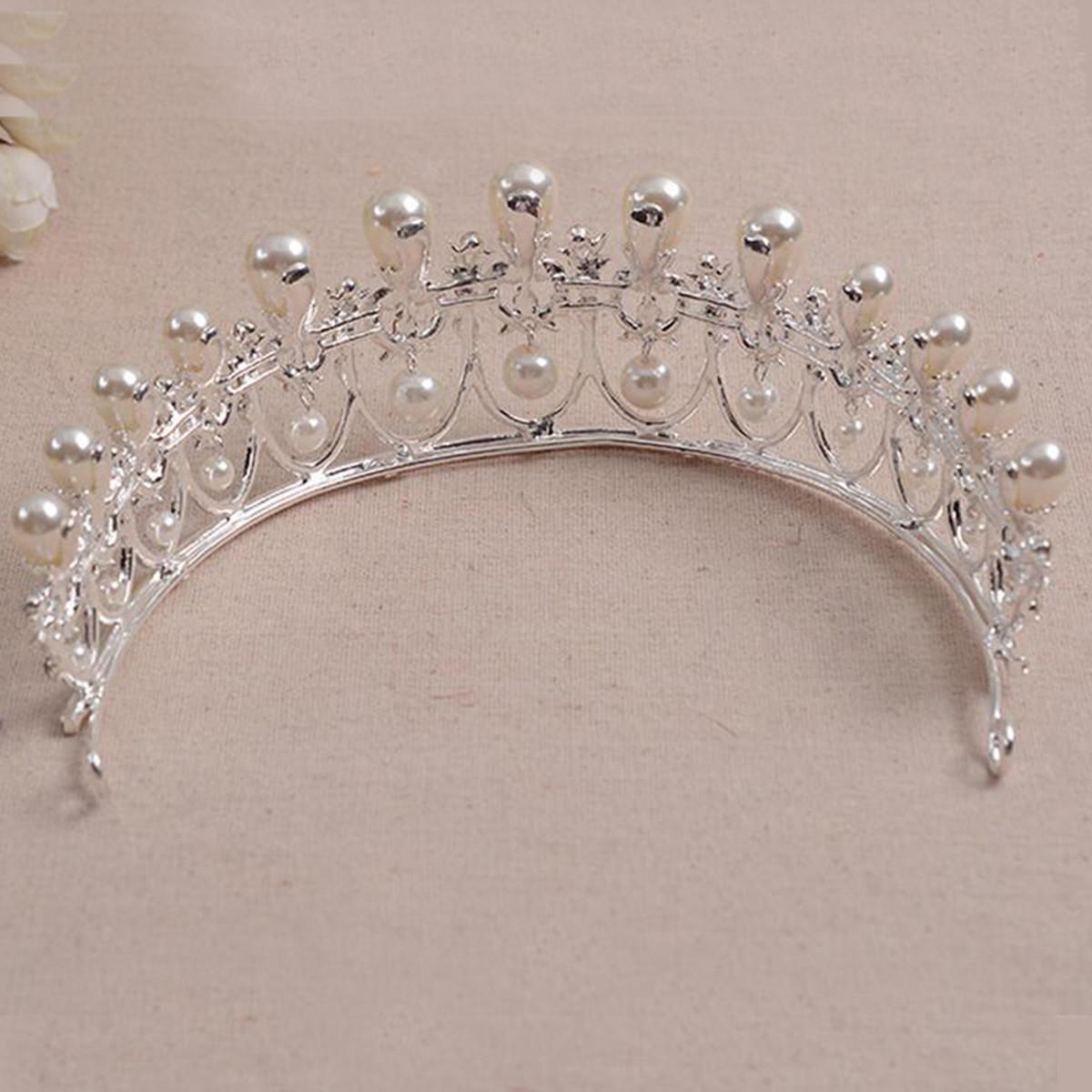 Bride Rhinestone Crystal Pearl Tiara Crown Princess Queen Wedding Bridal Party Prom Headpiece