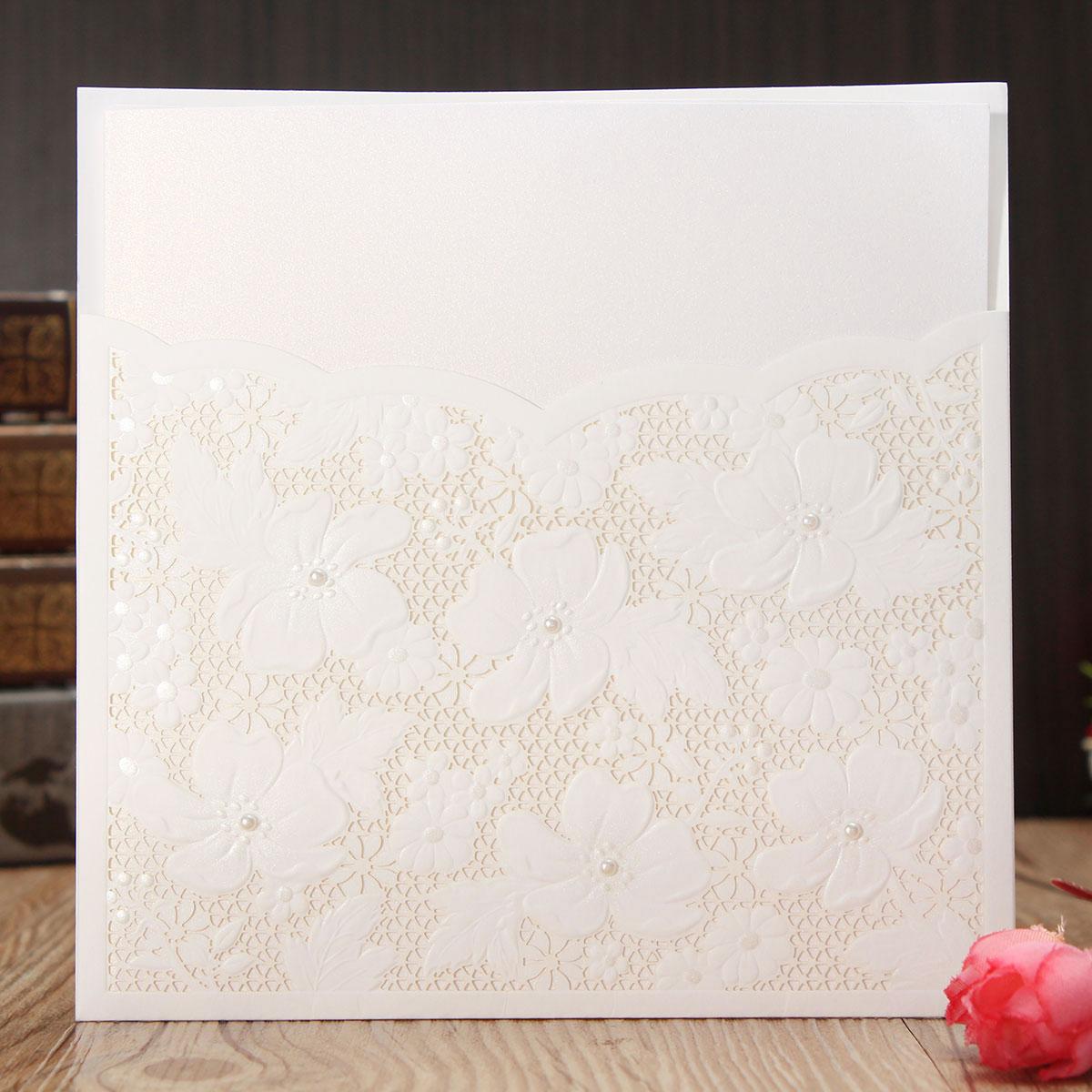 10Pcs Laser Cut Flower Hollow Out Bead Wedding Evening Invitations Cards Envelopes Seals
