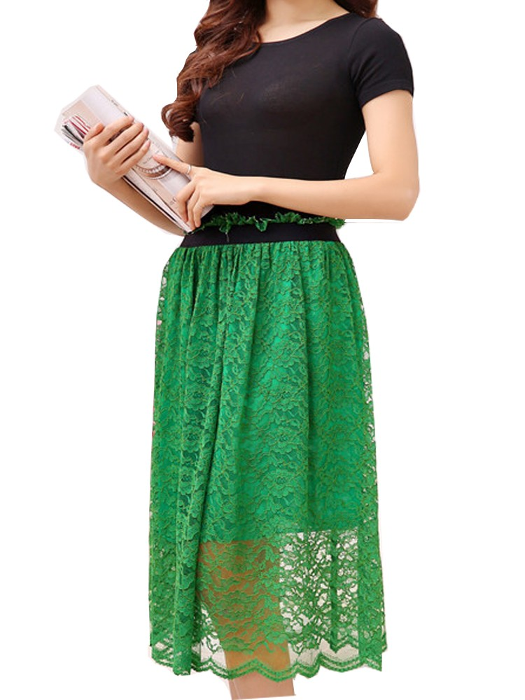Elegant Lace Black/Green Hollow Out High Waist Women Maxi Skirt