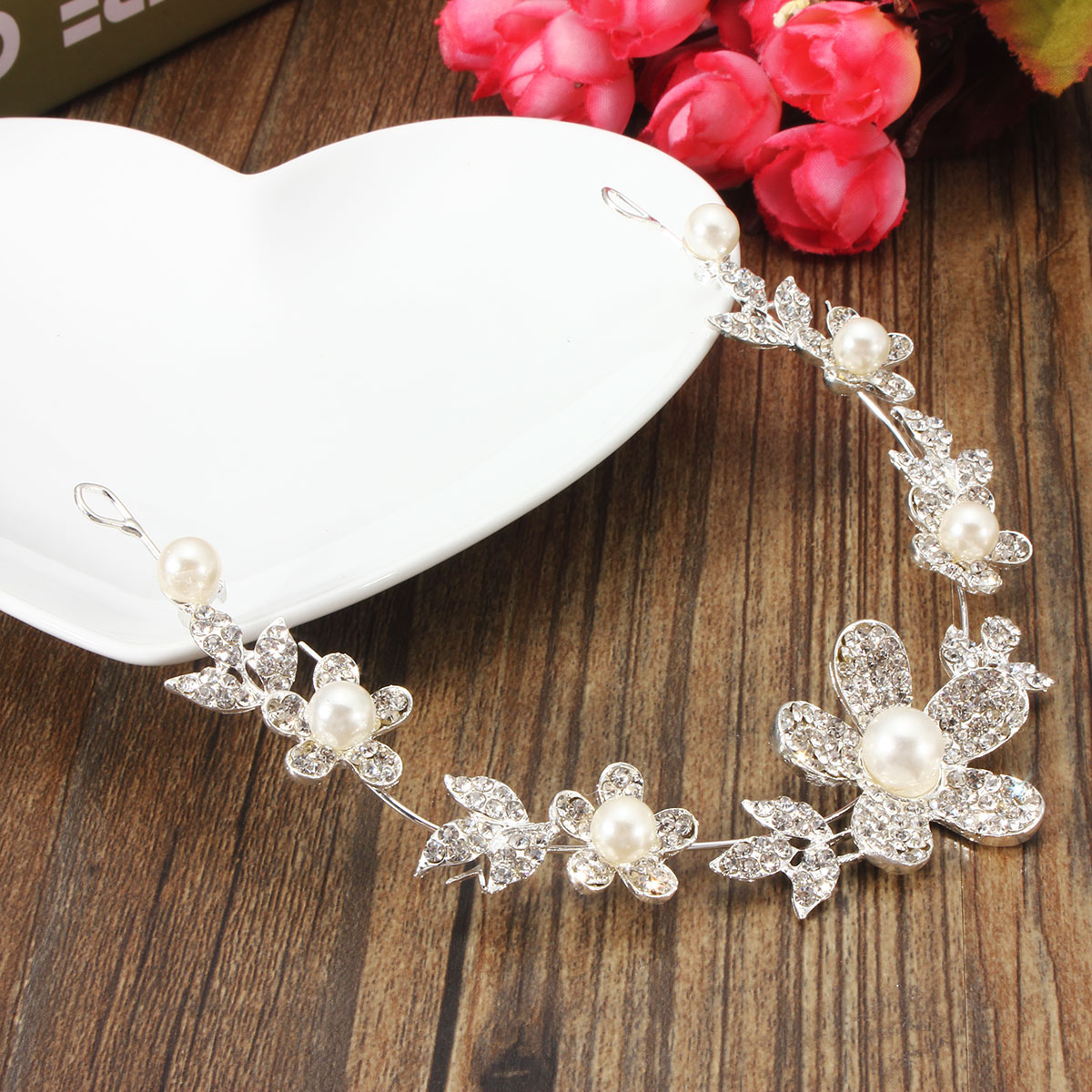Bride Flower Faux Pearl Rhinestone Diamond Headpiece Wedding Bridal Hair Chain Accessories