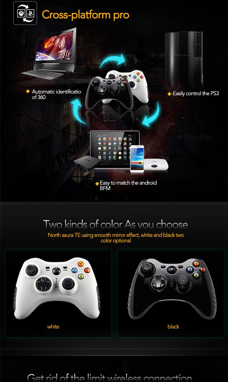 BETOP BTP-2185 Double Vibration Wireless Gamepad Games Controller Console Control For PS3 Android PC