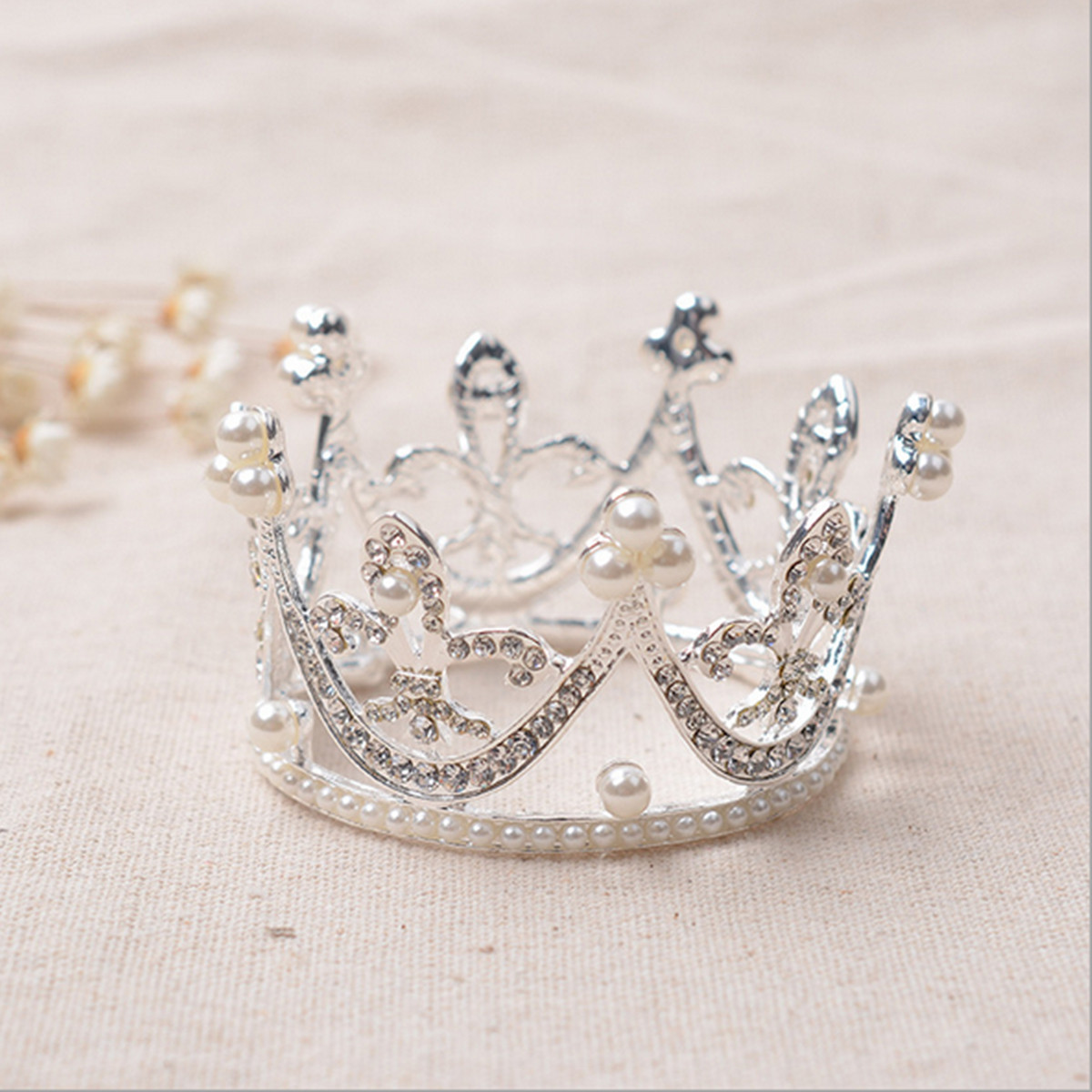 Bride Diamond Pearl Princess Queen Crystal Rhinestone Tiara Wedding Bridal Prom Party Crown