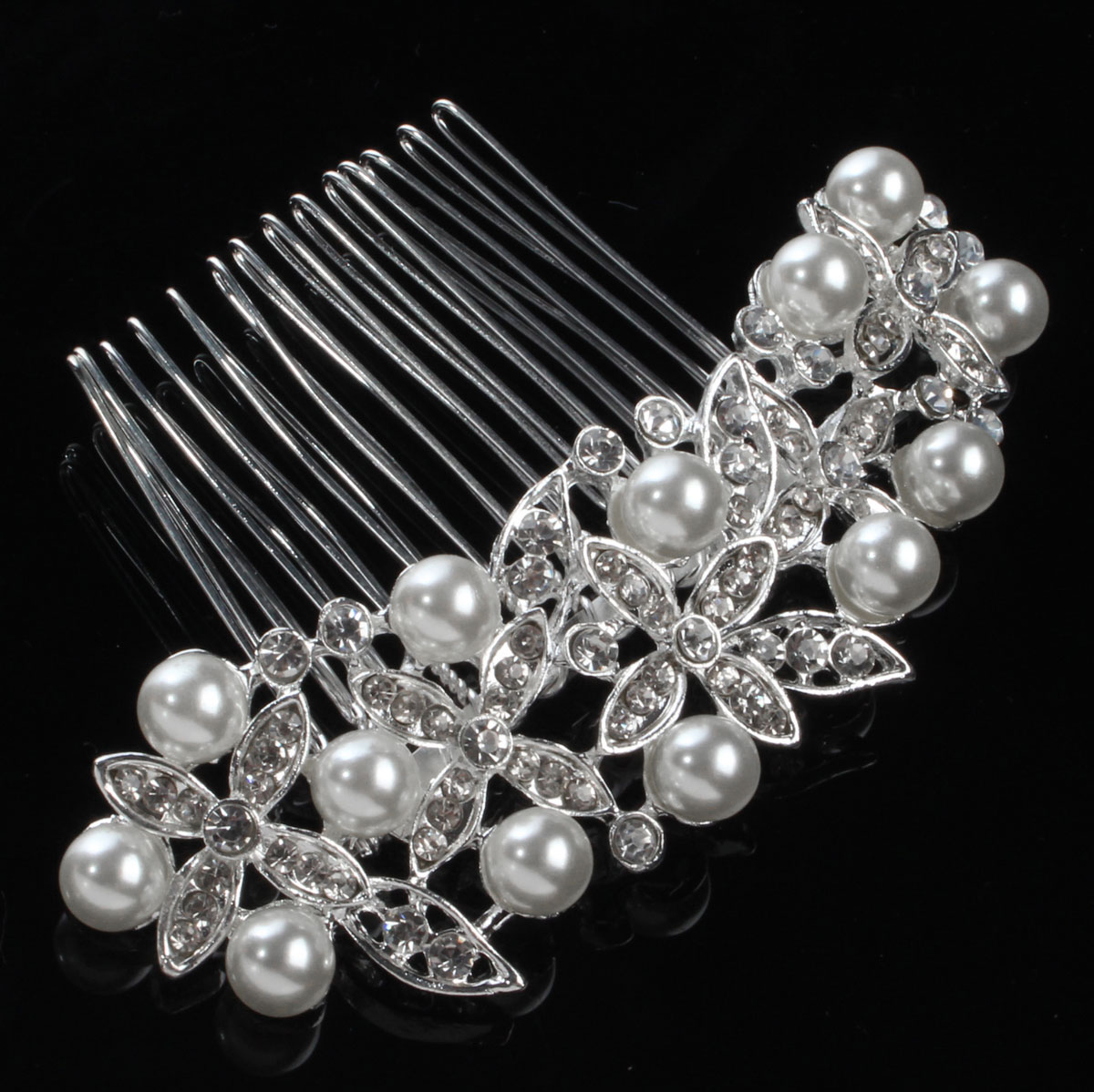 Bride Wedding Artificial Pearl Crystal Rhinestone Hair Clip Comb Hairpin Bridal Headpiece
