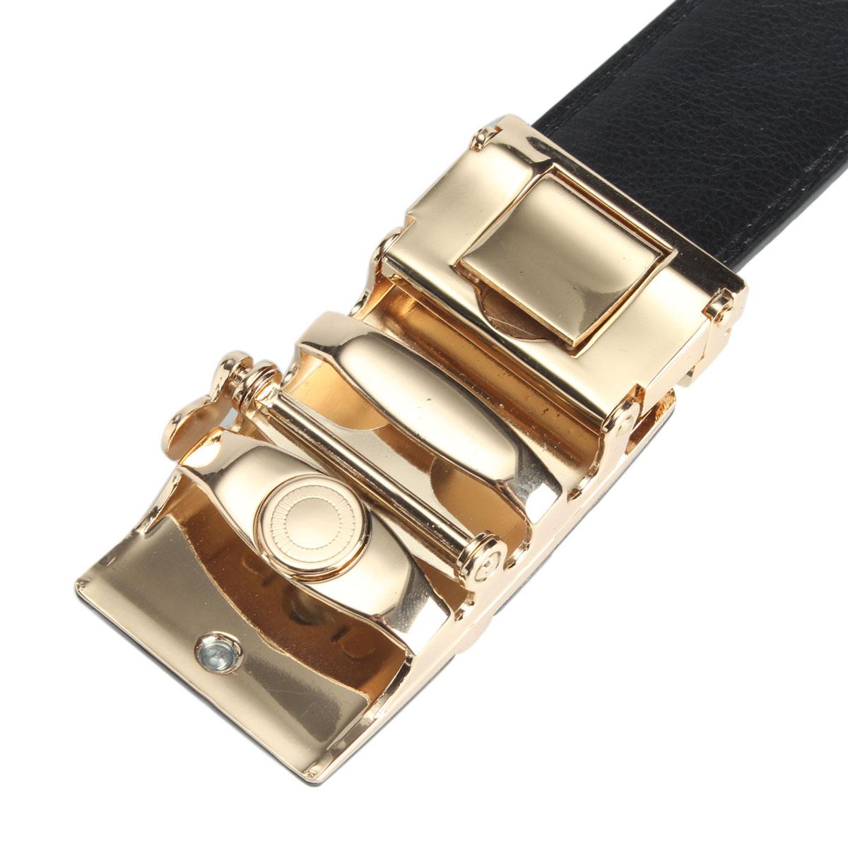Men Second Floor Cowhide Gold Silver Alloy Adjustable Automatic Buckle Belt Length Randomly
