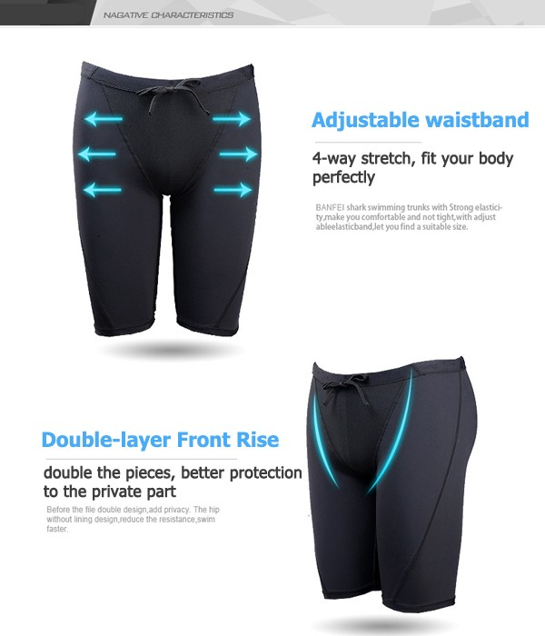 Mens Faux Shark Skin Waterproof Breathable Quick Dry Swimming Trunks Shorts