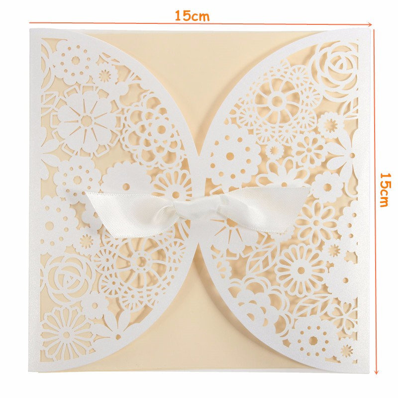10Pcs Laser Cut Hollow Out Bowknot Wedding Evening Invitations Cards Personalized Envelopes Seals