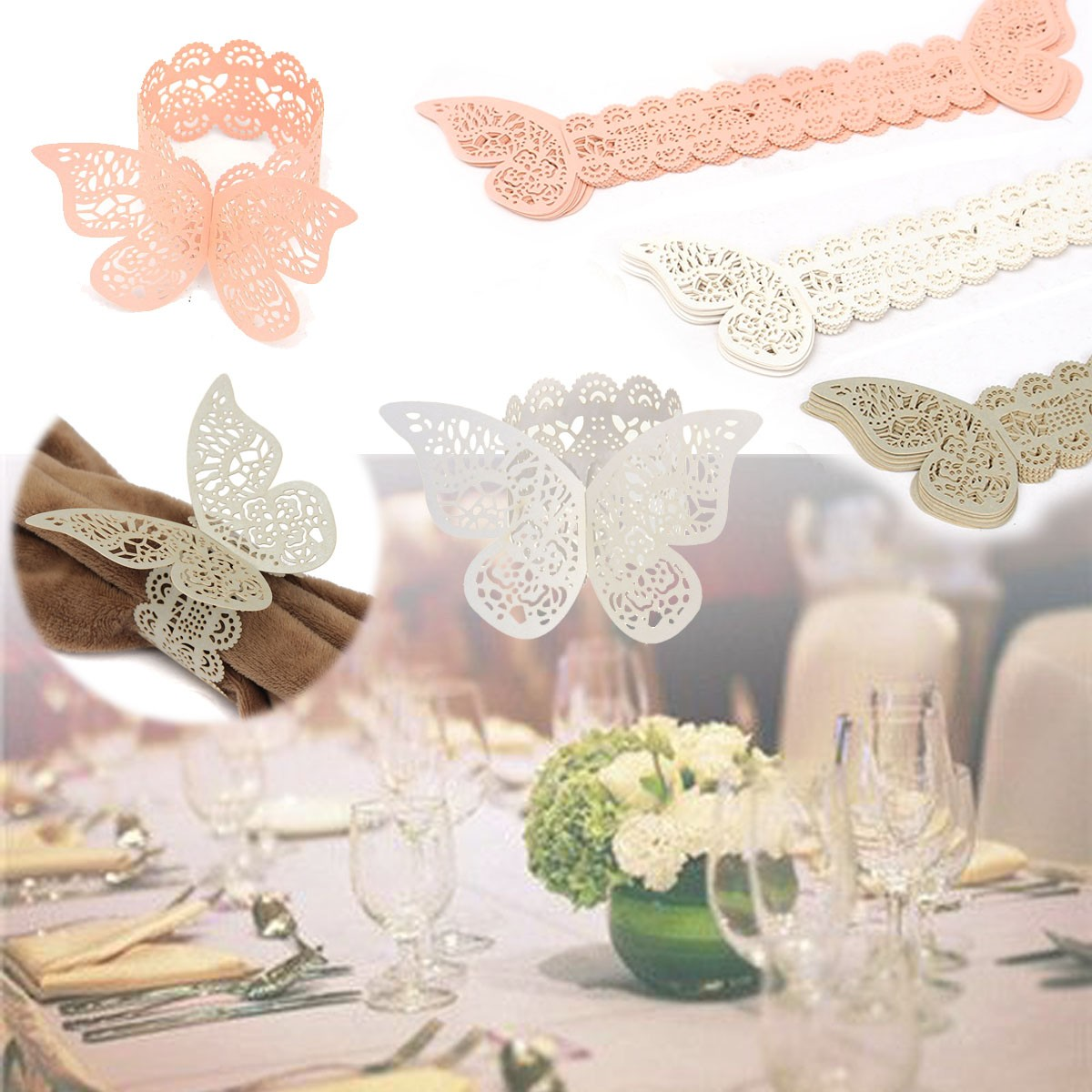 12 Pcs Butterfly Hollow Out Paper Napkin Buckle Ring Wedding Party Anniversary Decoration