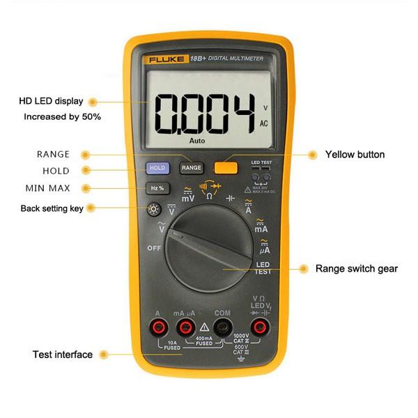Professional Fluke 18B F18B Digital Multimeter with LED Test Function