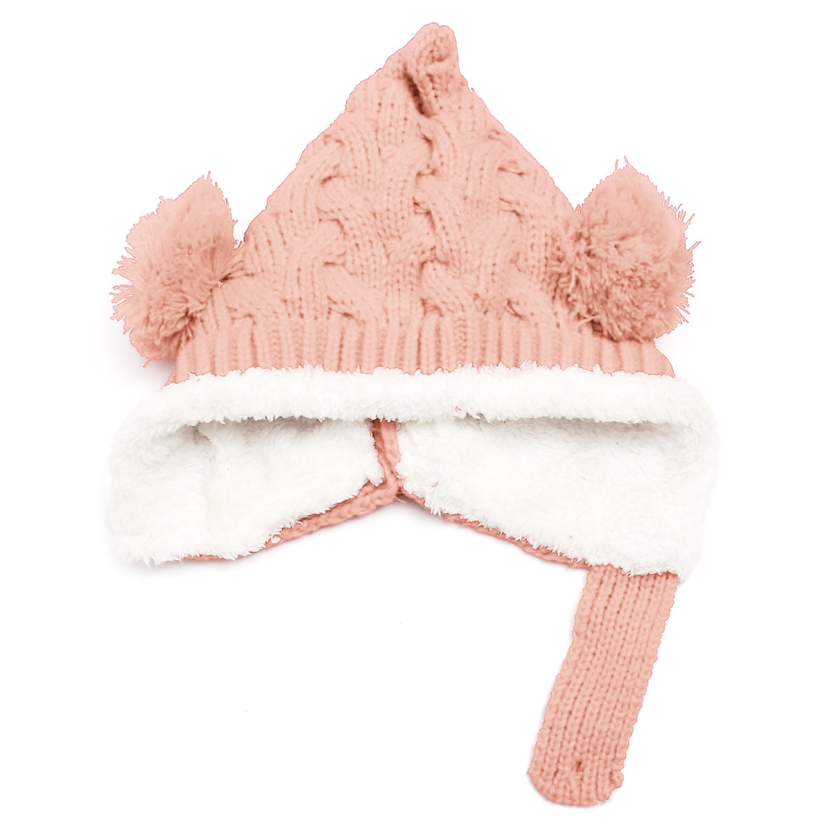 Lovely Winter Beanie Crochet Knit Loose Warm Kid Baby Girl Boy Dual Balls Ear Wool Knit Beanie Cap Earflap Hat