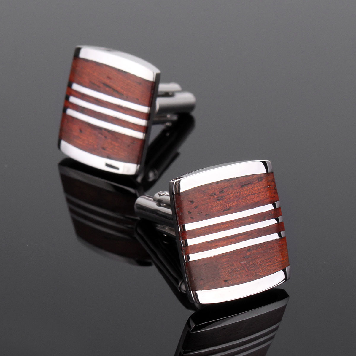 Men Vintage Rosewood Rectangle Pattern Silver Cufflinks Wedding Party Gift Shirt Accessories