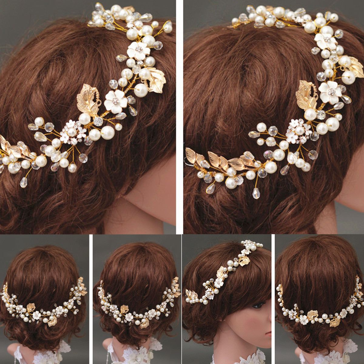 Bride Luxury Crystal Pearl Bead Hair Chain Wedding Bridal Tiara Hair Accessories Headbrand