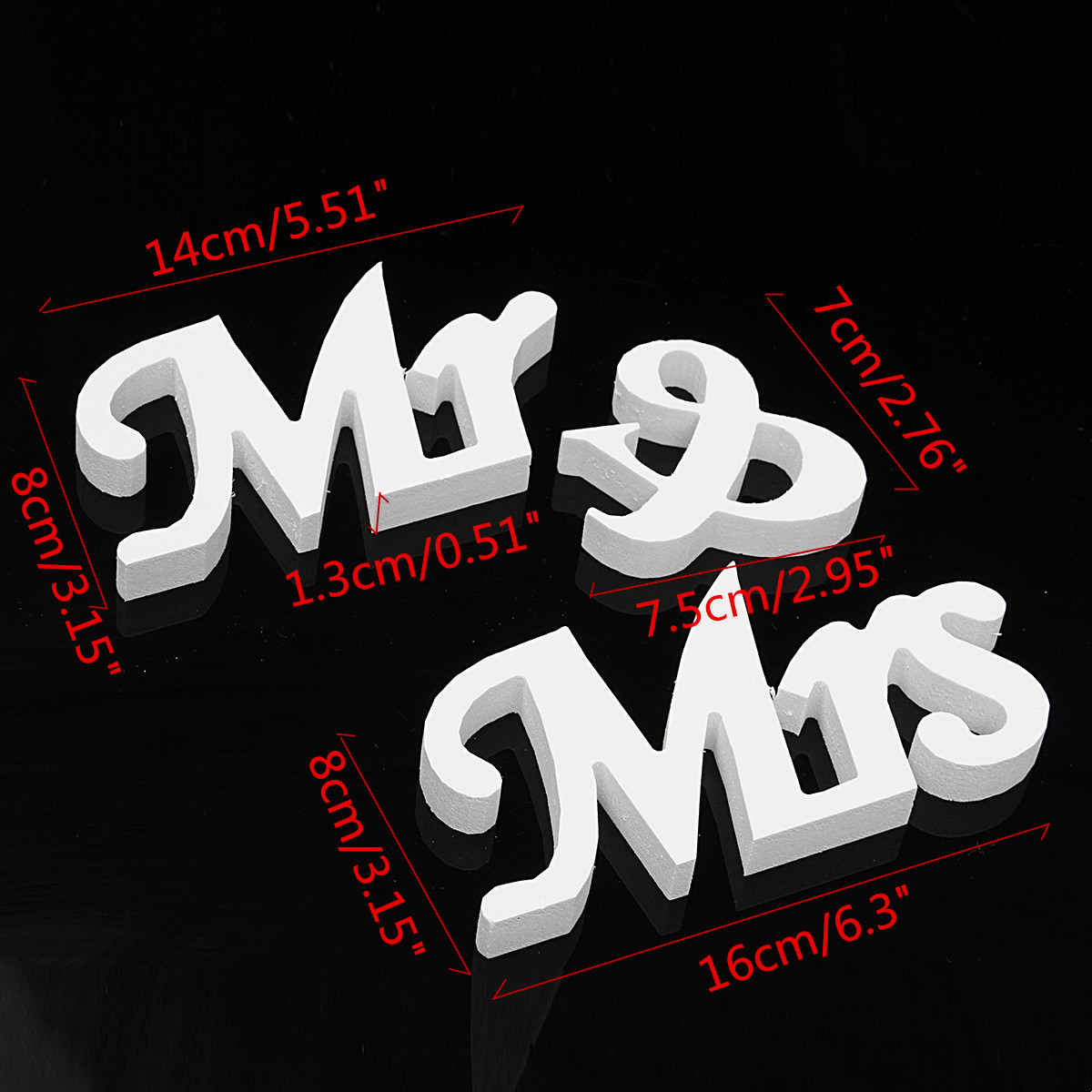 MR&MRS Letters White PVC Sign Table Decoration Wedding Favor Gift Accessories