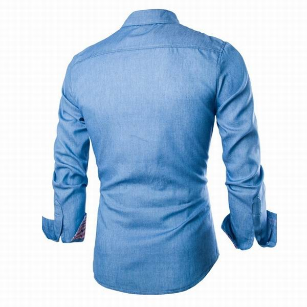 Mens Denim Washing Slim Fit Long Sleeved Casual Dress Shirts