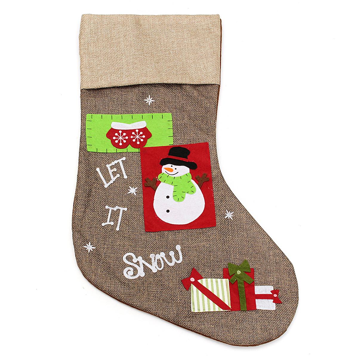 Christmas Gift Socks Bags Santa Claus Snowman Pattern Linen Hanging Stockings