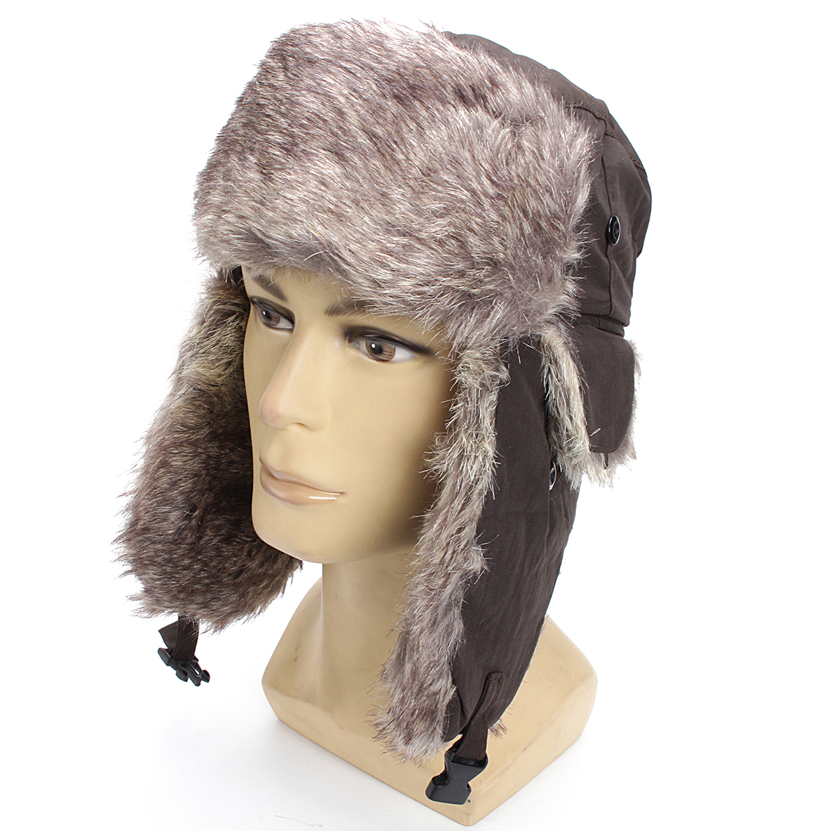Unisex Russian Faux Fur Pilot Trapper Cap Outdoor Ski Ear Protective Hat