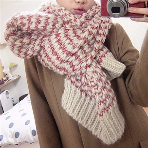 Women Men Couple Woolen Scarf Cashmere Imitation Knitted Long Mixed Color Wrap Shawl Pashmina
