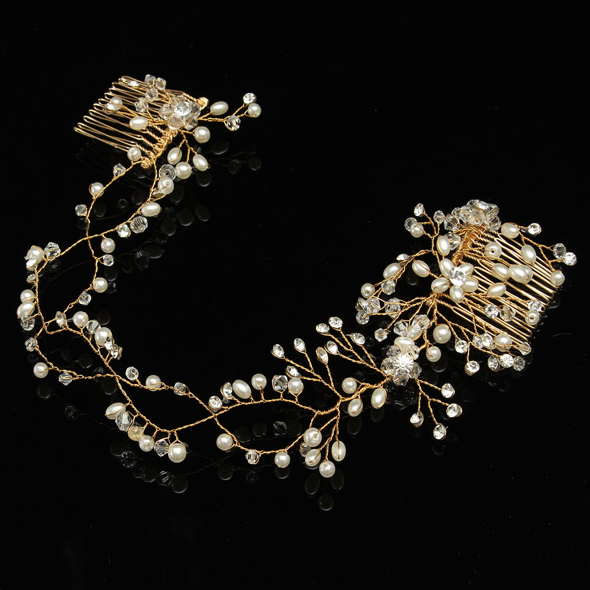 Bride Luxury Crystal Pearl Bead Hair Chain Comb Wedding Bridal Tiara Hair Accessories Headbrand