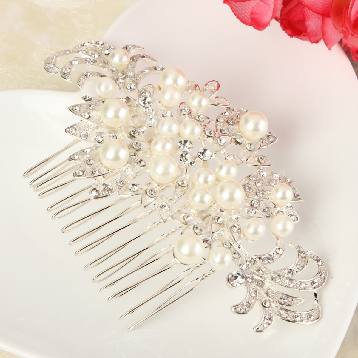 Bridal Wedding Pearl Crystal Rhinestone Flowers Diamante Hair Clip Comb Birde Hair Accessories