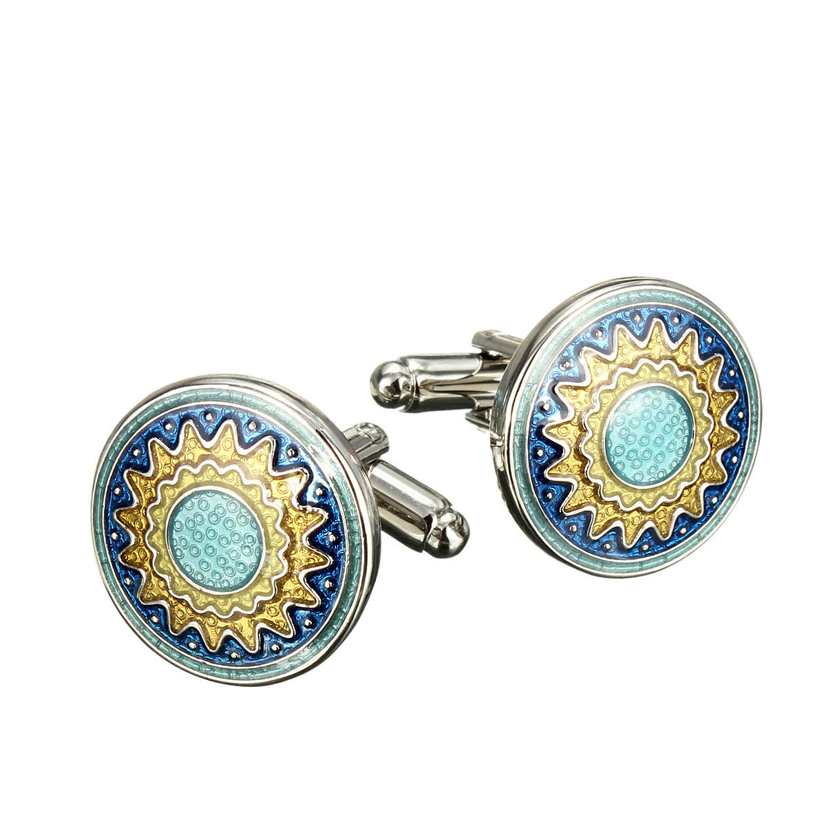 Men Vintage Enamel Sunflower Gold Silver Cuff Links Wedding Party Gift Shirt Suit Accessories