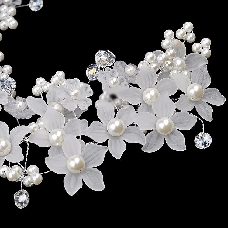 Bride Flower Artificial Pearl Headpiece Bridal Wedding Headbrand Hair Accessories