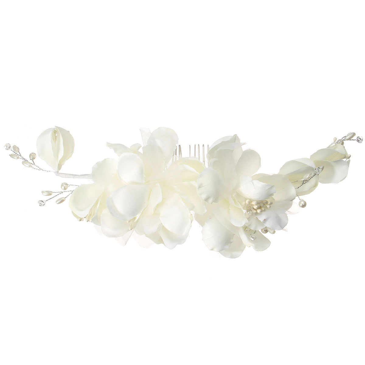 Bride White Flower Bead Pearl Hair Comb Wedding Bridal Headpiece Hair Accessories