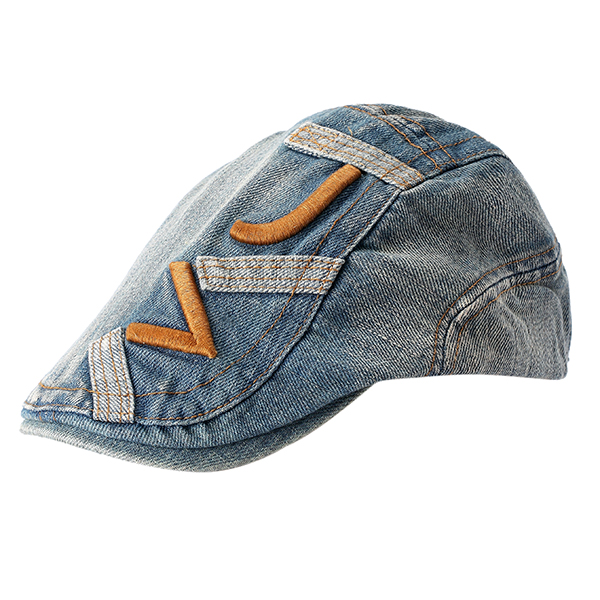 Cowboy Embroidery Denim Cotton Cap Leisure Outdoor Couple Beret Hat