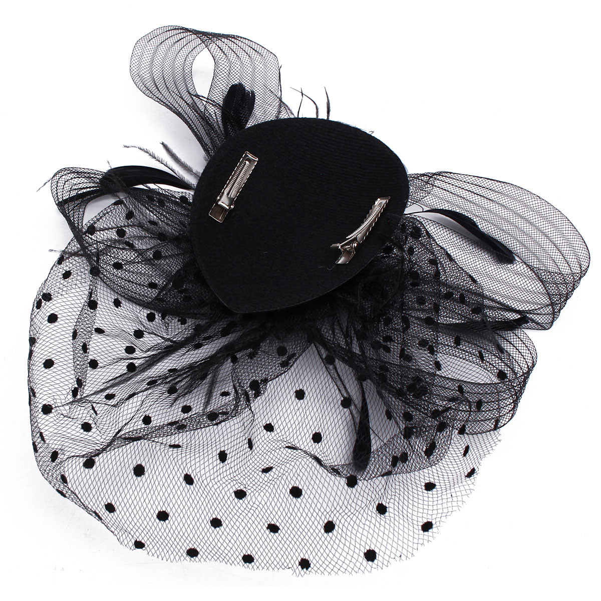 Bride Women Dot Black White Feather Mesh Fascinator Wedding Party Headpieces