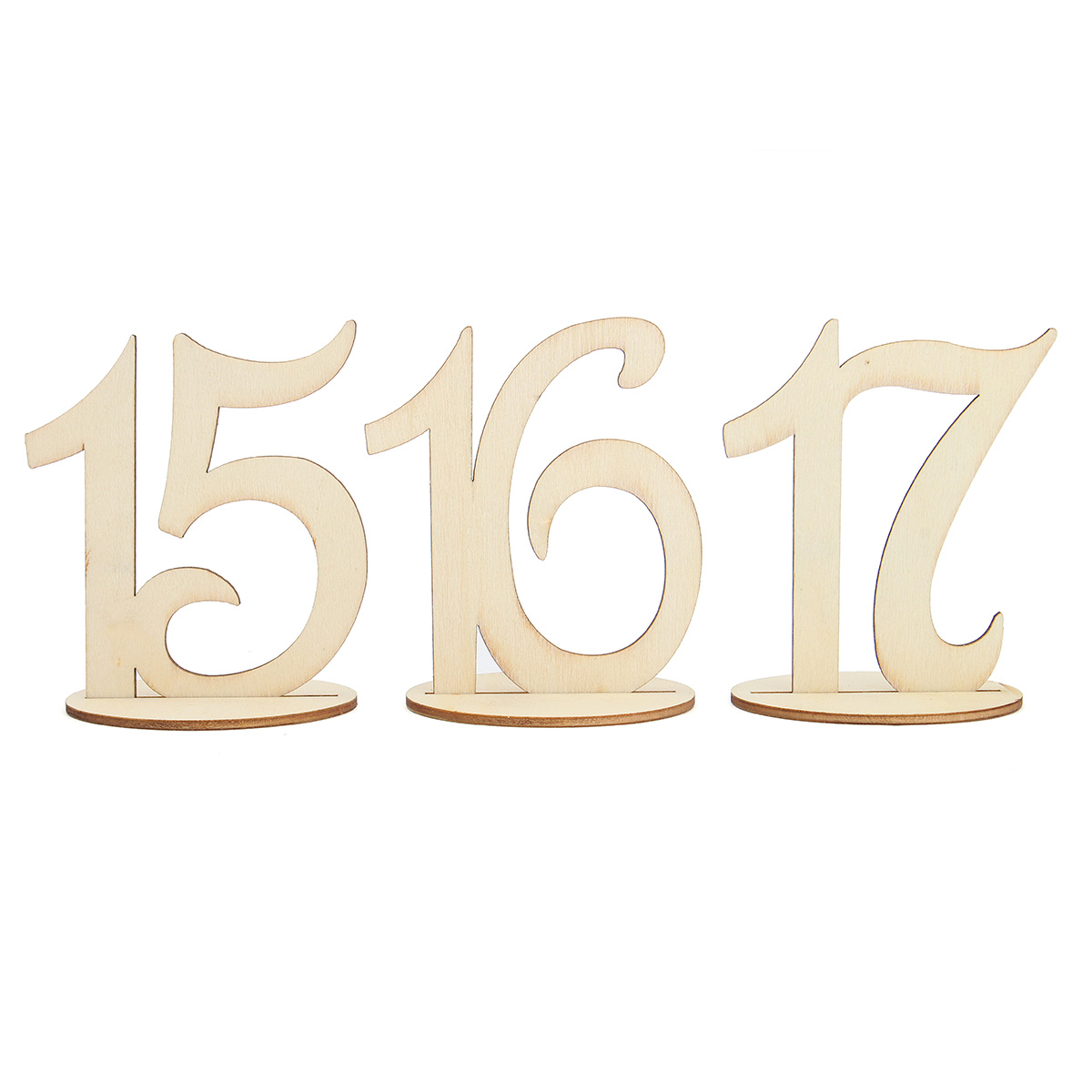 10 Pieces Number 11 to 20 Place Wooden Card Wedding Birthday Party Table Decoration
