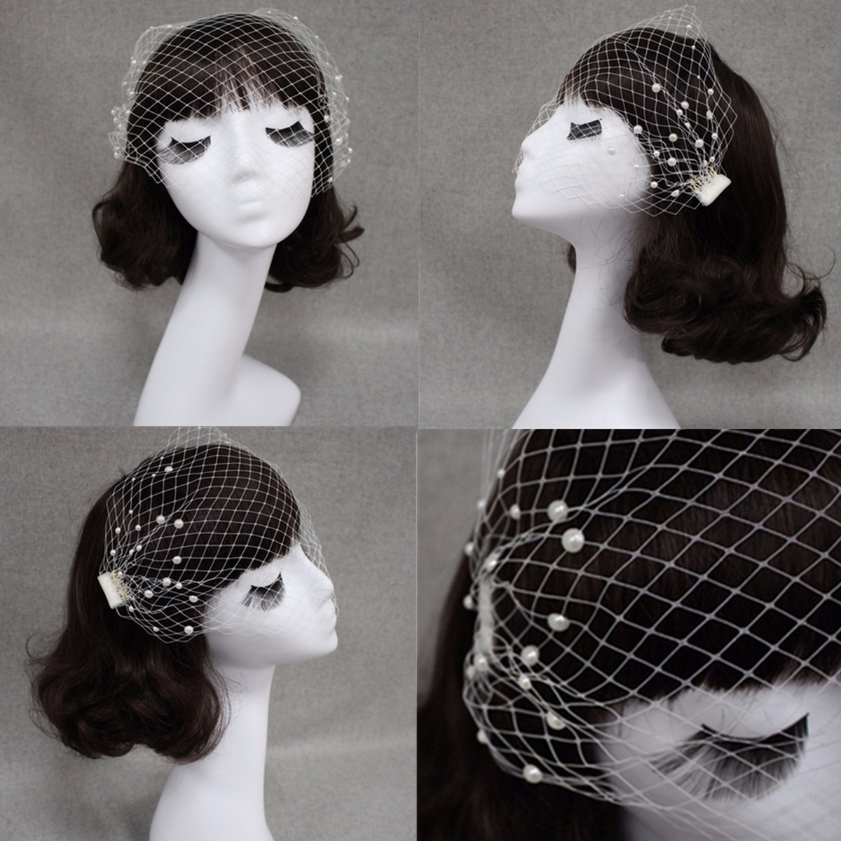 Wedding Headdress Bridal Pearl Net Birdcage Face Veil Fascinator Veils Cap With Comb