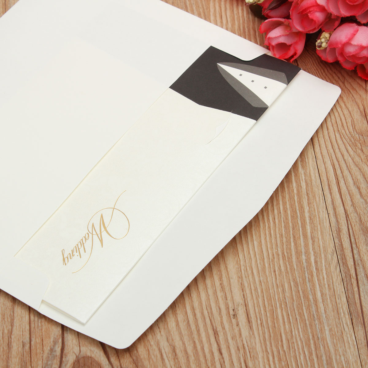 10Pcs Bride Groom Printed Wedding Evening Invitations Cards Personalized Envelopes Seals