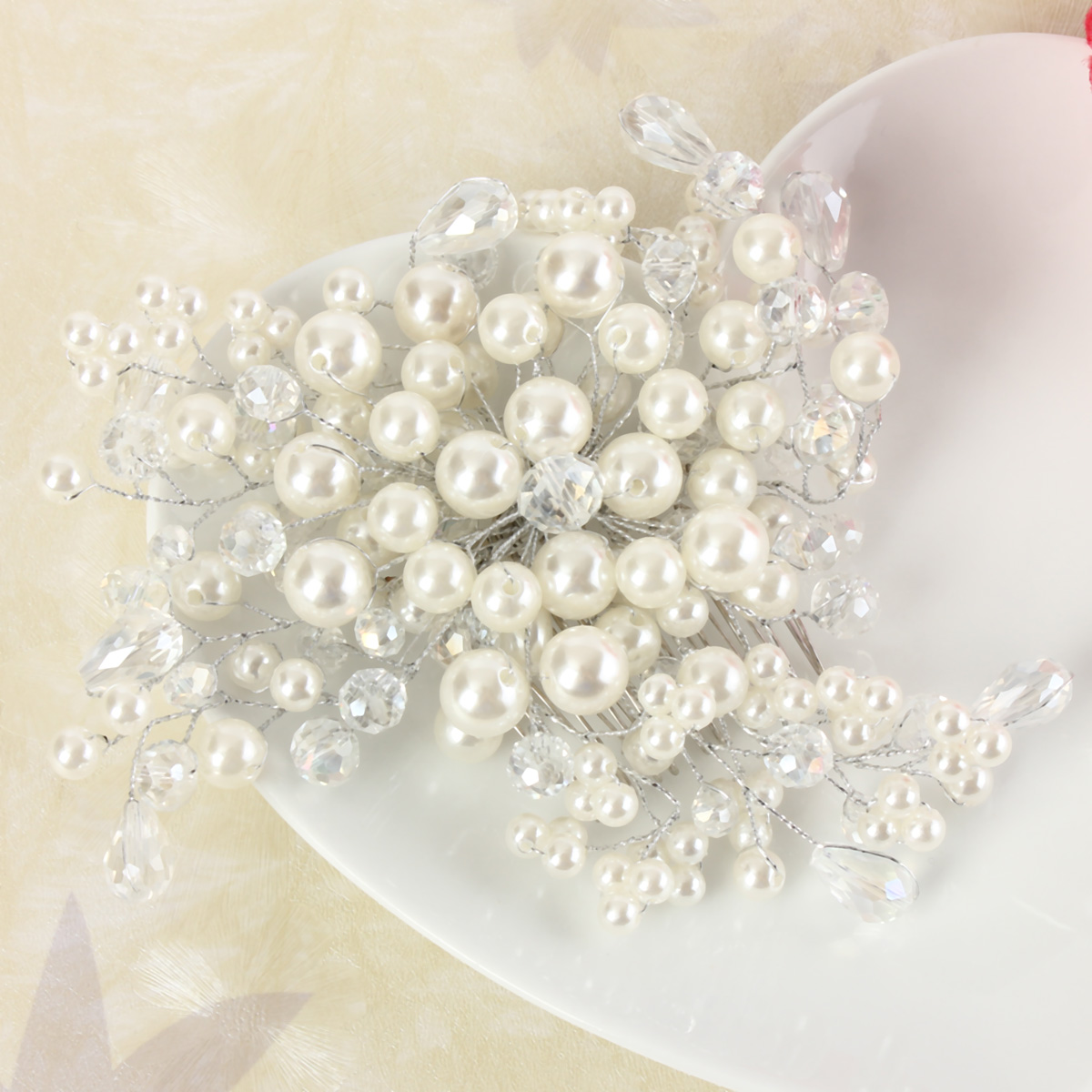 Bride Pearl Crystal Bead Hair Bomb Bridal Weddig Headpiece Hair Accessories