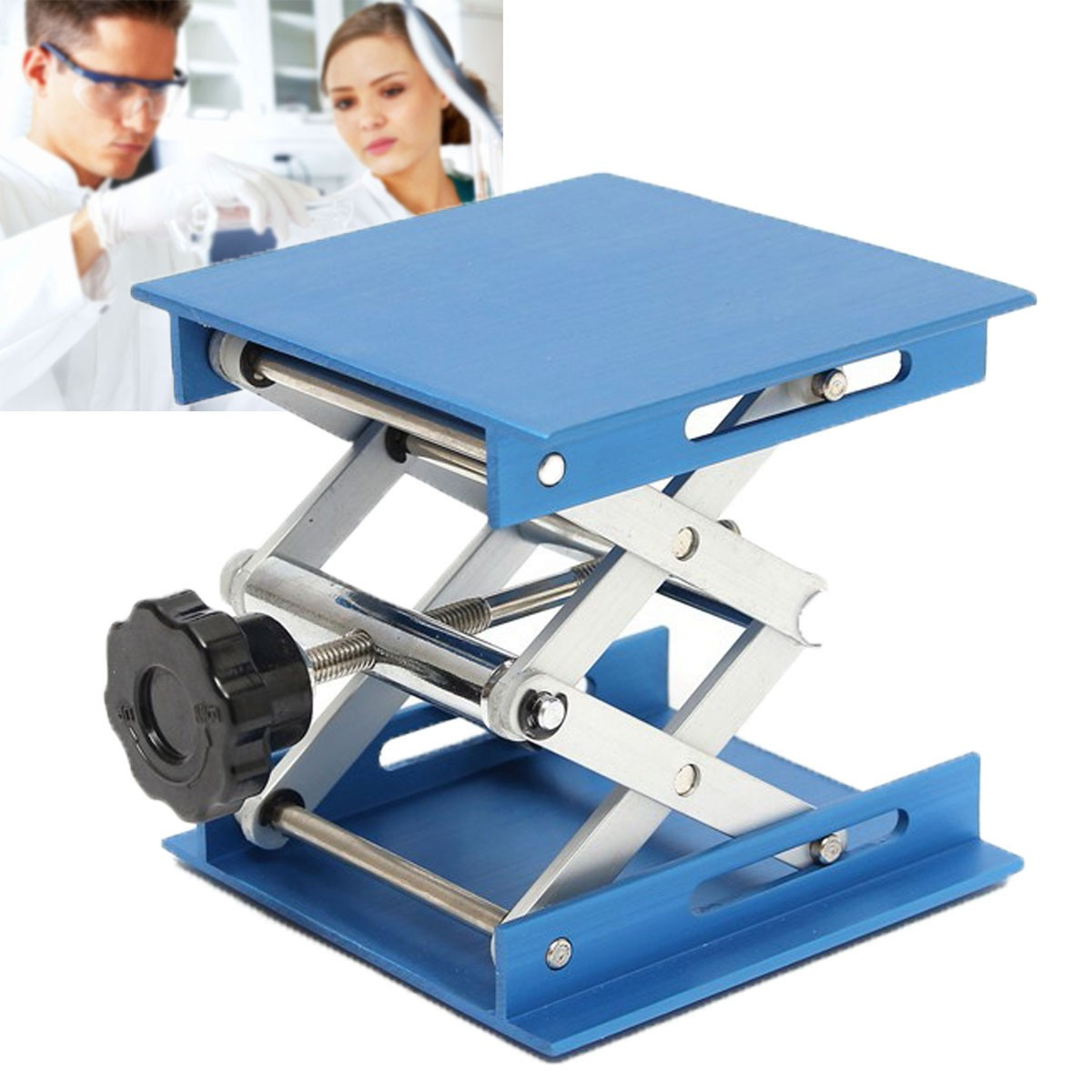 4inch Aluminum Lifting Platforms Stand Rack Scissor Lab-Lifting Oxide Lab Jack Stand Scissor Utility Tools 30KG Max Load