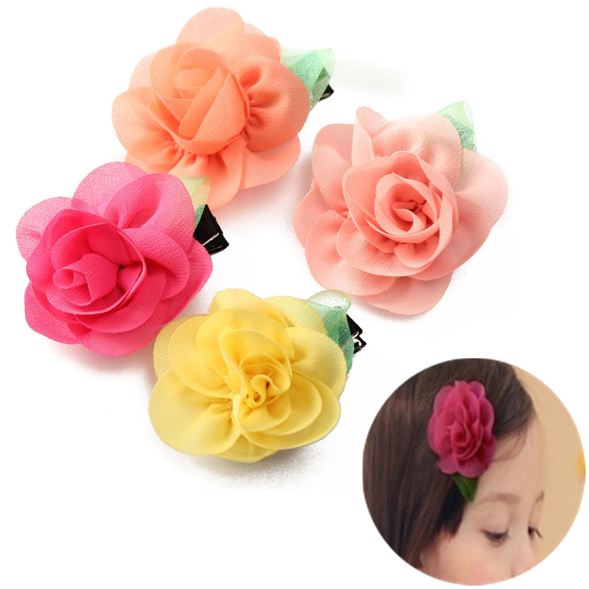Baby Girl Chiffon Rose Flower Clip Kids Toddler Accessories Hair Headbrand