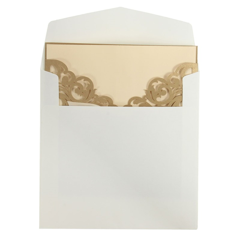 10Pcs Laser Cut Hollow Out Wedding Evening Invitations Cards Personalized Envelopes Seals