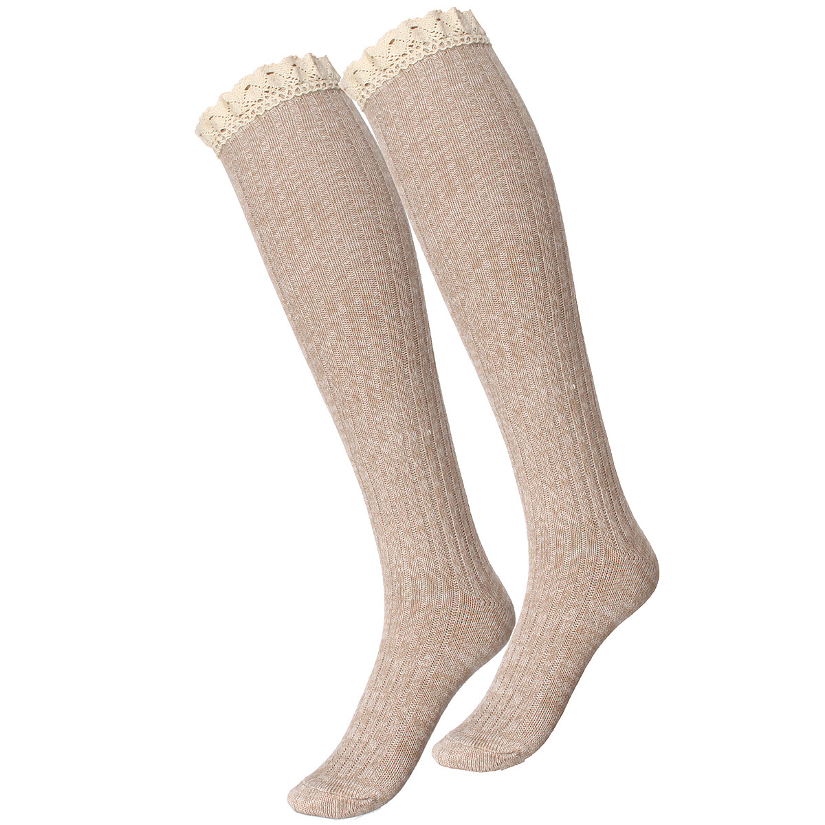 Women Girls Knitted Lace Stripe Cotton Blend Over Knee Stocking Elastic Stretchable High Tight Socks