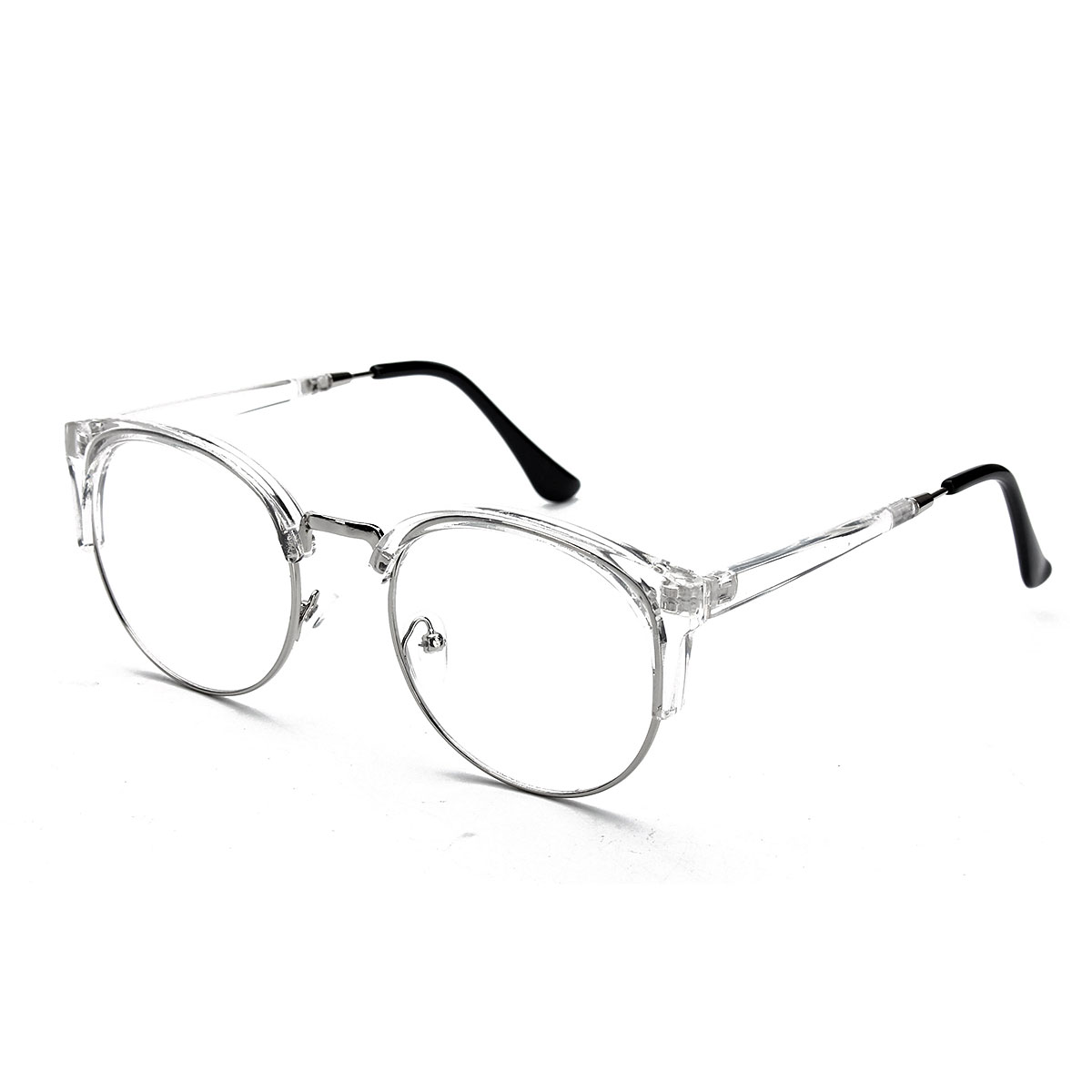 Women Vintage Nerd Glasses Clear Lens Eyewear Men Retro Round Metal Frame Glasses
