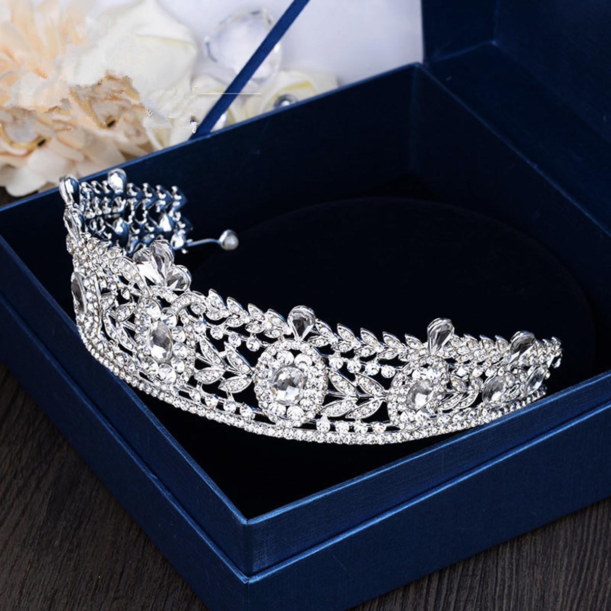 Bride Rhinestone Crystal Princess Queen Crown Tiara Head Jewelry Wedding Party Prom Headpiece