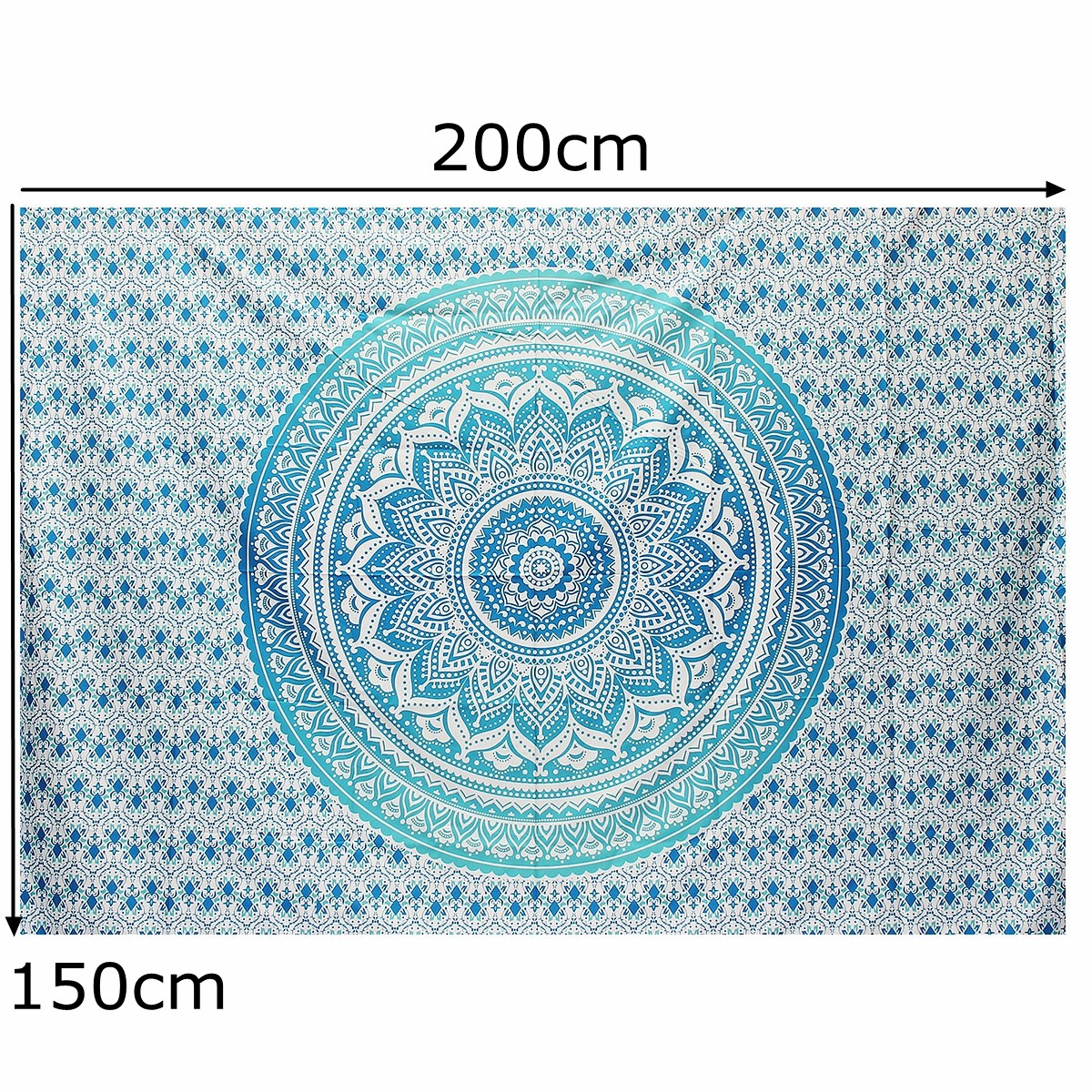 200*150CM Mandala Blue Green Bedspread Tapestry Wall Hanging Hippie Bohemian Ethnic Beach Towel