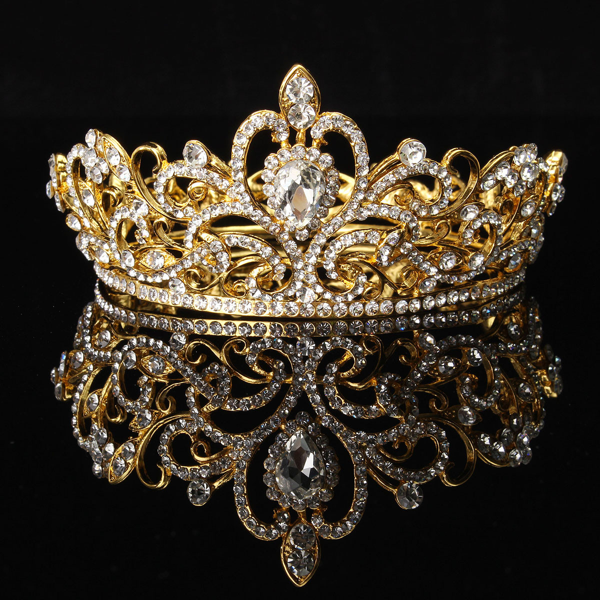 Bride Gold Silver Rhinestone Crystal Crown Tiara Head Jewelry Princess Queen Wedding Headpiece