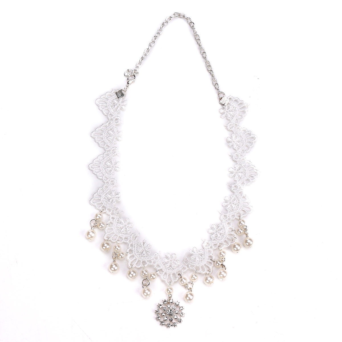 Bride Women Lace Pearl Diamond Necklace Headpiece Gothic Multifunction Wedding Accessories
