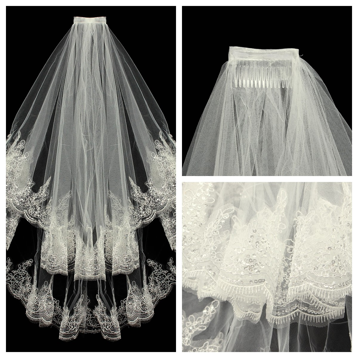 Bride 2 Layers Lace Sequin Decorative Edge Bridal Wedding Elbow Veil With Comb