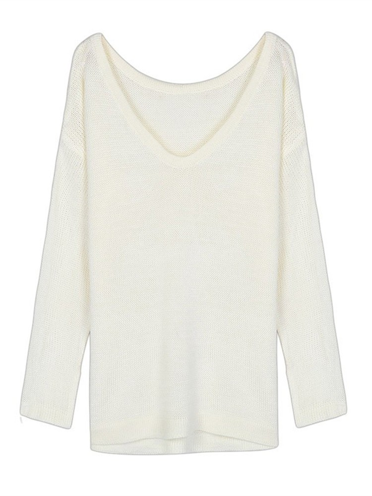 White Loose Women Off Shoulder Back Deep V-Neck Puff Knitted Sweater