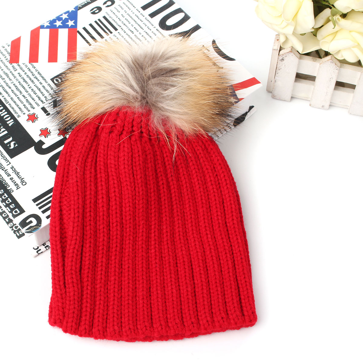 Children Warm Winter Wool Knit Beanie Raccoon Fur Pom Bobble Hat Crochet Ski Cap