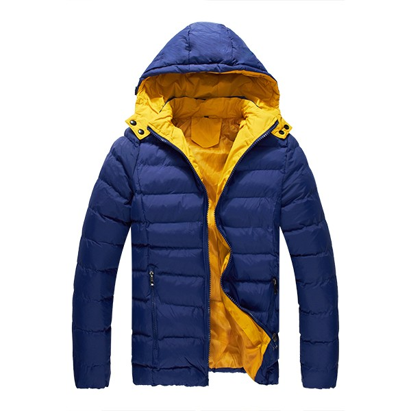 Mens Winter Cotton Padded Puffer Jacket Color Splicing Hooded Coat