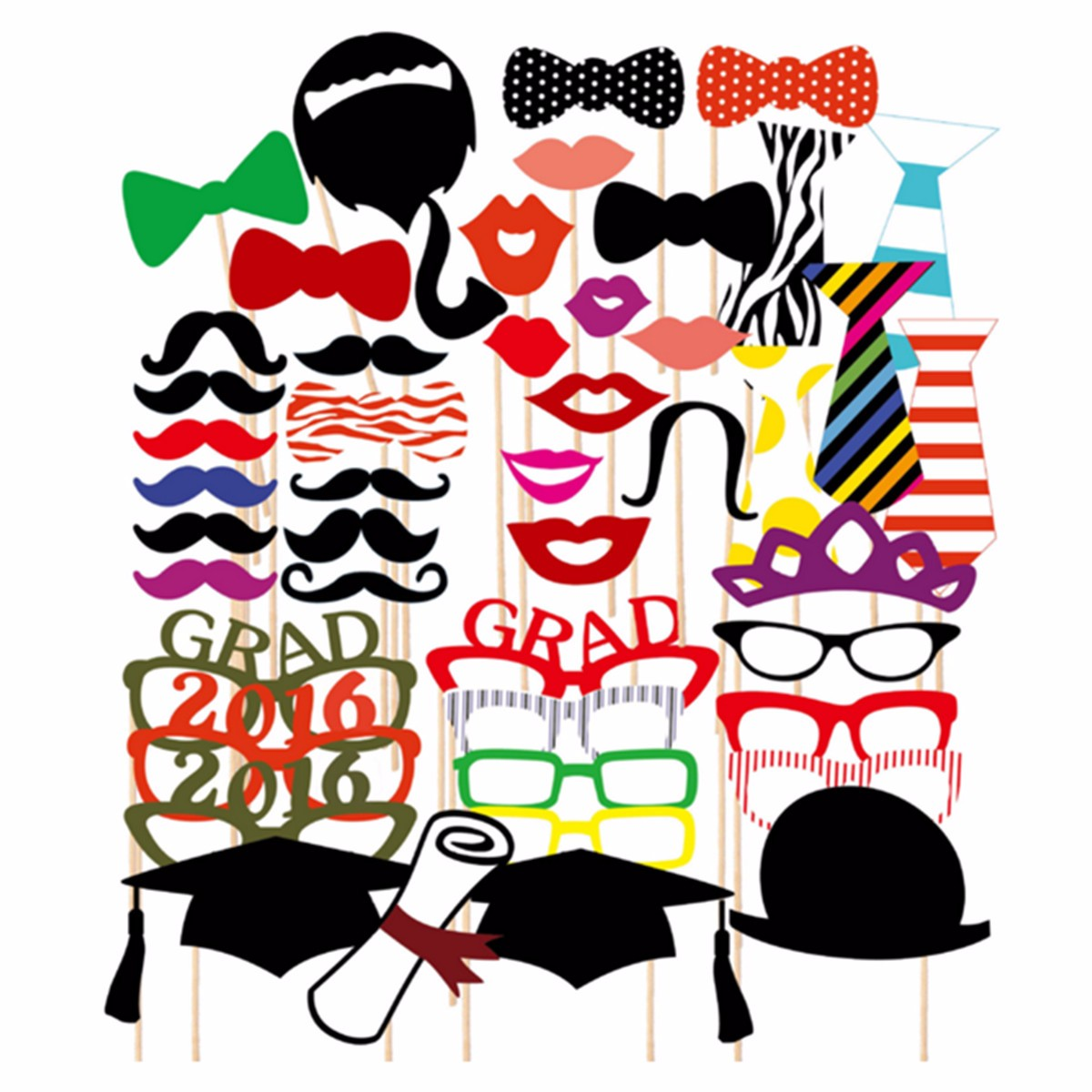 46Pcs Graduation Party Masks Photo Booth Props Mustache Sticker Commencement Wedding Favor