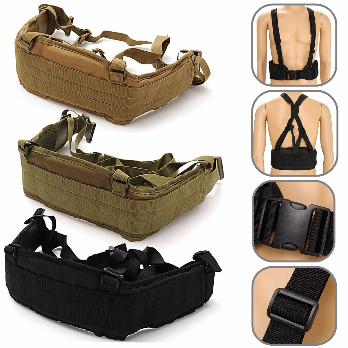 Unisex Oxford Cloth Military Tactical Waist Soft Padded Adjustable Belt With Suspender