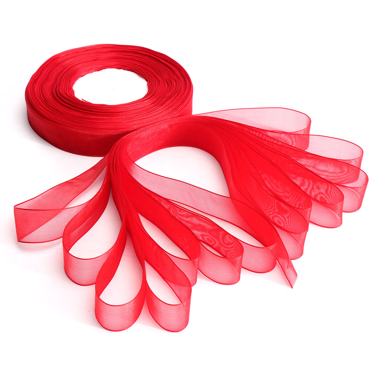 20mm 50Yards Woven Edge Organza Ribbon Wedding Birthday Party Gift Candy Box Decoration
